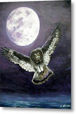 Great Grey Owl Of The Guiding Light Metal Print by Amy Scholten