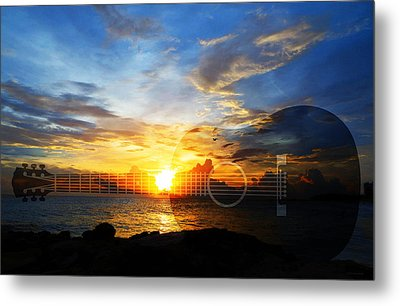 Guitar Sunset - Guitars By Sharon Cummings Metal Print by Sharon Cummings