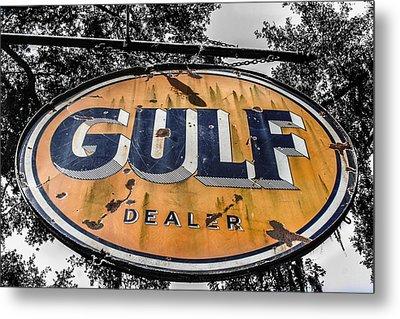 Gulf Dealer Sign Metal Print by Steven  Taylor