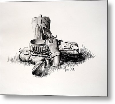 Gun And Holster Metal Print by James Skiles