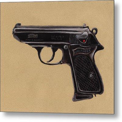 Gun - Pistol - Walther Ppk Metal Print by Anastasiya Malakhova