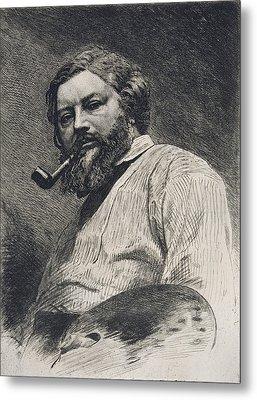 Gustave Courbet Metal Print by Etienne Gabriel Bocourt
