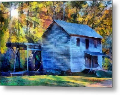 Hagood Mill With Sunrays Metal Print by Lynne Jenkins