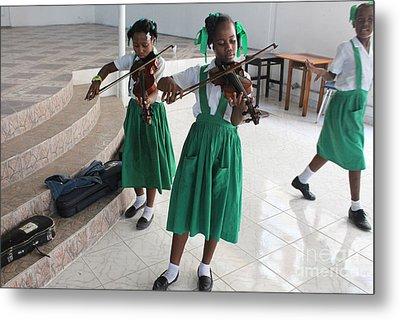 Haitian Girls Play Violins Metal Print by Jim Wright
