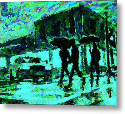 Halifax On A Rainy Night Metal Print by Halifax Artist John Malone