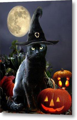 Witchy Black Halloween Cat Metal Print by Regina Femrite