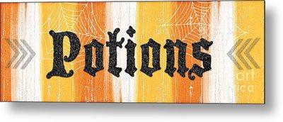 Halloween Potions Sign Metal Print by Linda Woods
