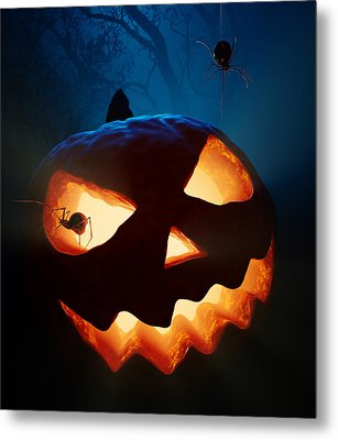 Halloween Pumpkin And Spiders Metal Print by Johan Swanepoel
