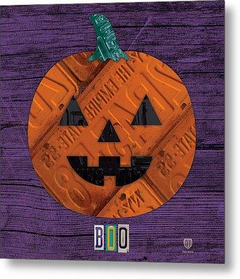 Halloween Pumpkin Holiday Boo License Plate Art Metal Print by Design Turnpike