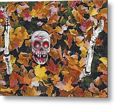 Halloween Skeleton Metal Print by Steve Ohlsen