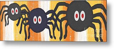 Halloween Spiders Sign Metal Print by Linda Woods