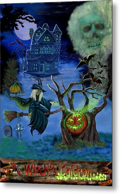 Halloween Witch's Coldron Metal Print by Glenn Holbrook