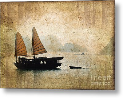 Halong Bay Vintage Metal Print by Delphimages Photo Creations