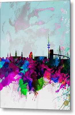 Hamburg Watercolor Skyline Metal Print by Naxart Studio