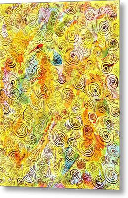 Hand-drawn Abstract Background With Spirals On Yellow Green Pink Metal Print by Ion vincent DAnu