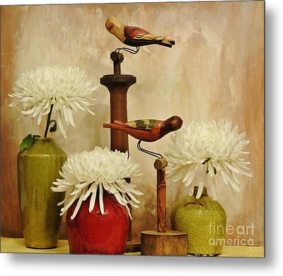 Hand Painted Wooden Birds With Mums Metal Print by Marsha Heiken