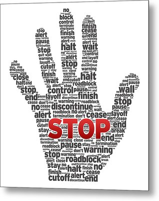 Hand With Words Metal Print by Aged Pixel