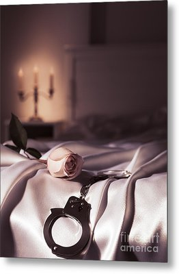 Handcuffs And A Rose On Bed Metal Print by Oleksiy Maksymenko