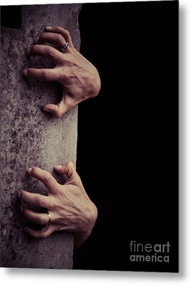 Hands Crawling Out Of The Darkness Metal Print by Edward Fielding