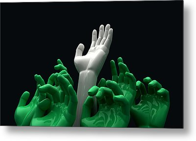 Hands Reaching Skyward Metal Print by Allan Swart