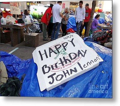 Happy Birthday John Lennon Metal Print by Ed Weidman