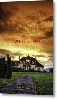 Happy Halloween Fiery Castle Metal Print by Eti Reid