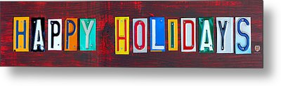 Happy Holidays License Plate Art Letter Sign Metal Print by Design Turnpike