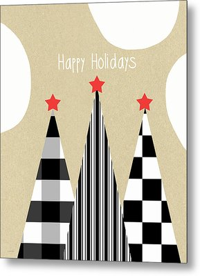 Happy Holidays With Black And White Trees Metal Print by Linda Woods