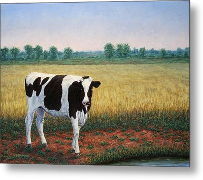 Happy Holstein Metal Print by James W Johnson