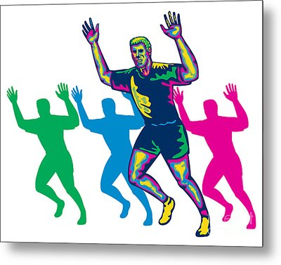 Happy Marathon Runner Running Retro Metal Print by Aloysius Patrimonio