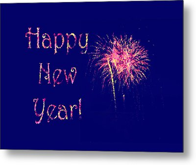 Happy New Year Fireworks Metal Print by Marianne Campolongo