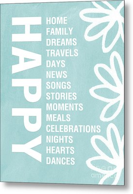 Happy Things Blue Metal Print by Linda Woods