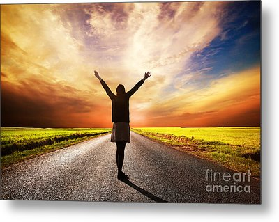 Happy Woman Standing On Long Road At Sunset Metal Print by Michal Bednarek
