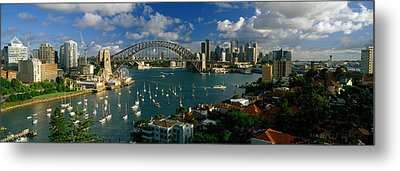 Harbor And City And Bridge, Sydney Metal Print by Panoramic Images