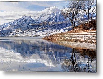 Hardy Fishermen Deer Creek Reservoir And Timpanogos In Winter Metal Print by Gary Whitton