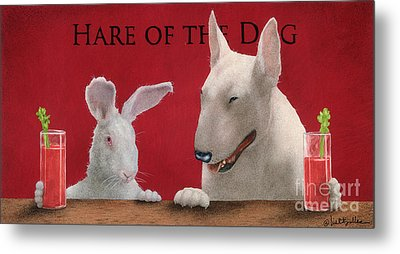 Hare Of The Dog...the Bull Terrier.. Metal Print by Will Bullas