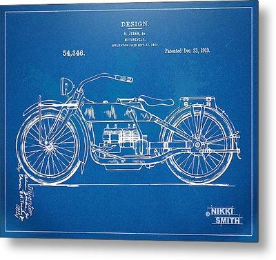 Harley-davidson Motorcycle 1919 Patent Artwork Metal Print by Nikki Marie Smith