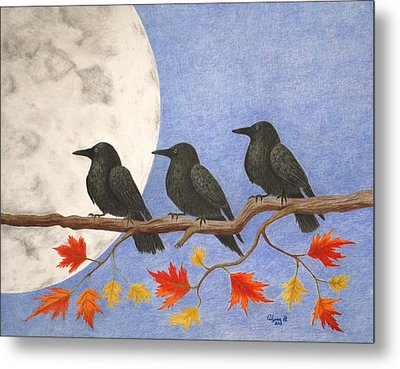 Harvest Crows Metal Print by Alyssa Glosson