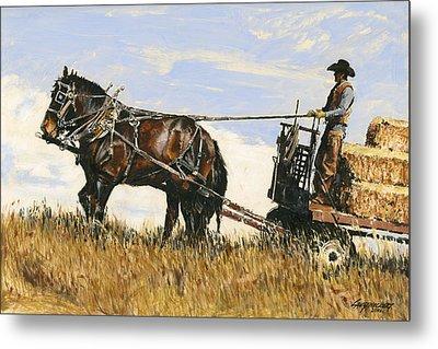 Hauling Hay Metal Print by Don  Langeneckert