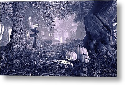 Haunted House Bw Metal Print by Marina Likholat
