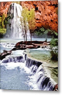 Havasau Falls Painting Metal Print by Bob and Nadine Johnston