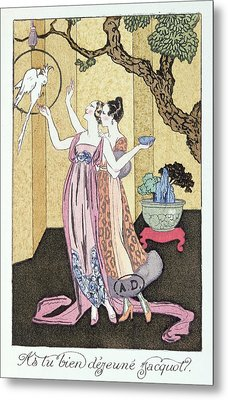 Have You Had A Good Dinner Jacquot? Metal Print by Georges Barbier
