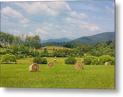 Hay Bales In Farm Field Metal Print by Kim Hojnacki
