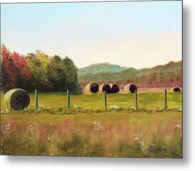 Hay Bales In The Cove Metal Print by Joan Swanson