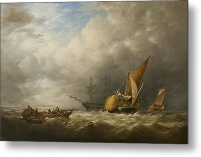Hay Barges In The Thames Estuary Metal Print by Alfred Herbert