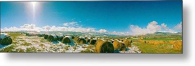 Hay Field In Snow, Andorra Metal Print by Panoramic Images