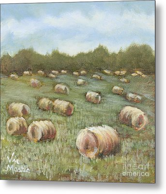 Haybales In The Field Metal Print by Vic  Mastis
