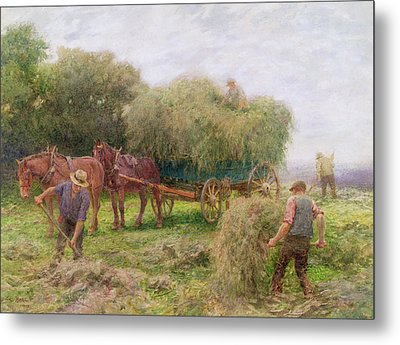 Haymaking Metal Print by Arthur Hopkins