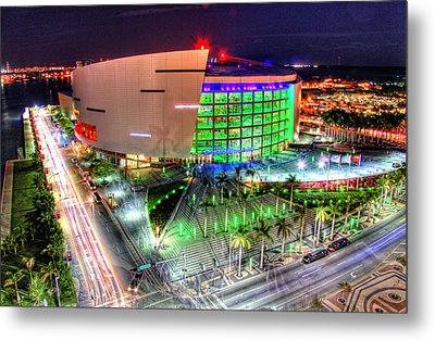 Hdr Of American Airlines Arena Metal Print by Joe Myeress