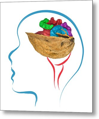 Head And Brain Abstract Metal Print by Ioan Panaite